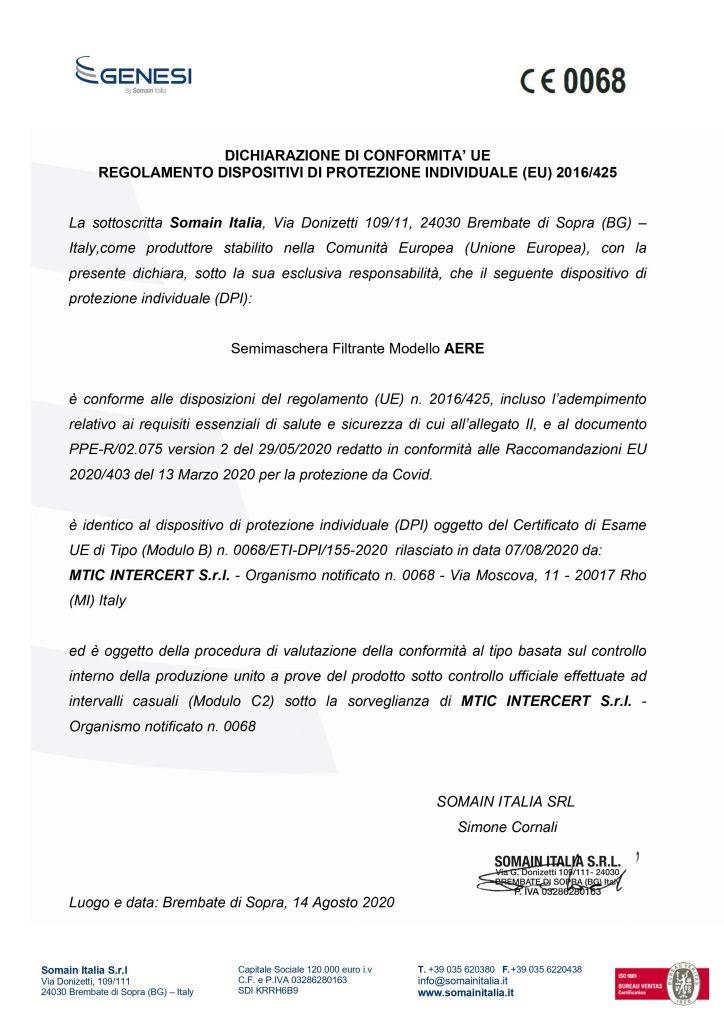 Dichiarazione di conformità UE AERE MASK